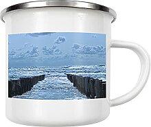 artboxONE Emaille Tasse Wellenrauschen von LinaTea