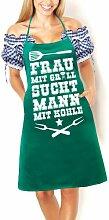 Artdiktat Grill Schürze - Frau mit Grill sucht Mann mit Kohle - Schürze, Grillschürze, Kochschürze, Latzschürze, grün