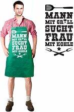 Artdiktat Grill Schürze - Mann mit Grill sucht Frau mit Kohle - Schürze, Grillschürze, Kochschürze, Latzschürze, grün