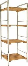 Arte Regal Import 26612–Bambus und Metall-Regal mit 4Böden, 30x 30x 83cm, hellbraun/Aluminium