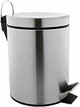 Arte Regal Import 29950 Mülleimer aus Metall, mit Pedal, 3Liter, silberfarben