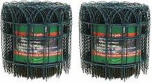 Artecsis 2x Ziergitter aus Metall in Grün, 10 m x 0,65 m, Gartenzaun um Pflanzen, Bäume, Blumen zu schützen