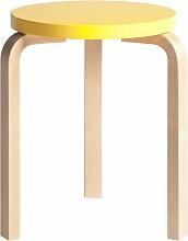 Artek - 60 Hocker, gelb lackiert / Birke natur