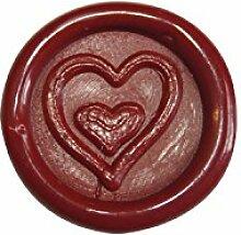Artemio Wachssiegel-Aufkleber mit Herzmotiv, Rot, 10er-Pack