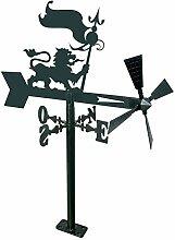 Arthifor Gartenlaterne Löwe mit Flagge, Schwarz