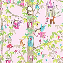 Arthouse, Arthouse Woodland Fairies tapetenherstellung Tapete, Pink