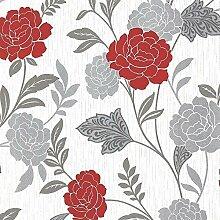 Arthouse Carla Blumen Rose Muster Tapete Glitzer Motiv Vinyl Streifen - Rot 889403
