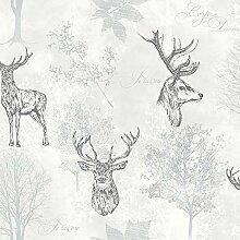 Arthouse Etched Stag Mono Wallpaper 901808 Tapete