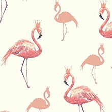 Arthouse Flamingo Queen Tapete, Korallenro