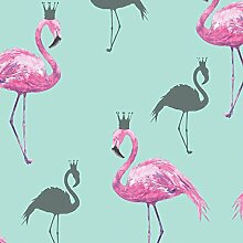 Arthouse Flamingo Queen Tapete, Pink/Blaugrün