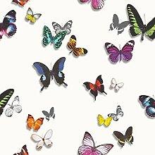 Arthouse Imagine Tropen Bahia weiß Tapete 690401?Metallic Schmetterlinge 3D