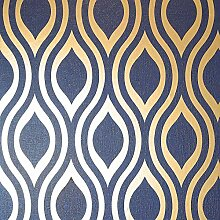 Arthouse Luxe Ogee Navy Gold 910203 Tapete