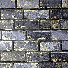 Arthouse Metallic Brick Navy/Gold 692200 Tapete