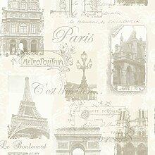 Arthouse Paris Collage Muster Tapete Eiffelturm Metallisch Typographie - Neutrale 692000