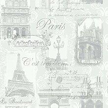Arthouse Paris Collage Muster Tapete Eiffelturm Metallisch Typographie - Silber 692001