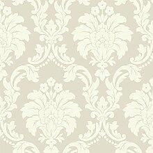 Arthouse Romeo Damask Muster Tapete Modern Metallisch Blumenmotiv - Creme 693502