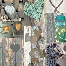 Arthouse Rustic Heart Tapete, rustikales Herzdesgin, blau, Petrol, braun Shabby Chic, Design mit Bildern