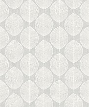 Arthouse Scandi Leaf Tapete, Grau