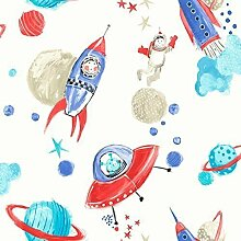 Arthouse Starship Star Muster Space Man Rocket Glitzer Kinder Tapete White Blue 668001