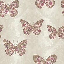 Arthouse - Tapete Midsommer Damast mit Schmetterlingsmuster Glitzer - Rot Kupfer 661202