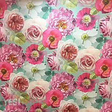 Arthouse-Tapete mit mehrfarbigem Rosenmuster,