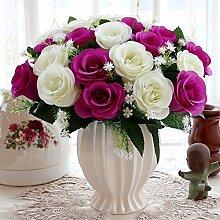 Artificial Flower Ktfactory Ktfactory Künstliche Fake Blume rose Zubehör,Topfpflanzen,rot weiß Porzellan vase C