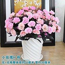 Artificial Flower Ktfactory Ktfactory Künstliche Fake Blume rose Esstisch Zubehör Home Decor Bonsai,rosa Keramik vase EIN