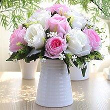 Artificial Flower Ktfactory Ktfactory Künstliche Fake Blume Rose Home Einrichtung Esstisch Zubehör in Weiß und Rosa Keramik Vase