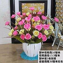 Artificial Flower Ktfactory Ktfactory Künstliche Fake Blume Rose Home Einrichtung Esstisch Zubehör,rosa weiß Keramik Vase