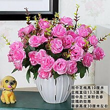 Artificial Flower Ktfactory Ktfactory Künstliche Fake Blume Rose Home Einrichtung Tische Zubehör aus der roten Keramik Vase