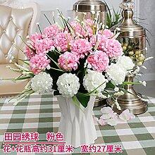 Artificial Flower Ktfactory Ktfactory Künstliche Fake Blume Rose Home Einrichtung Esstisch Zubehör Seidenblumen,rosa weiß Porzellan vase EIN