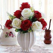 Artificial Flower Ktfactory Ktfactory Künstliche Fake Blume rose Zubehör,Topfpflanzen,rot weiß Porzellan vase D