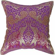 Artiwa Bezug traditionelle indische Elefanten, bestickte Seide, Überwurf Dekoratives Kissen, 40.64 cm x 40.64 cm Geschenkidee, violett, 40 x 40 cm.