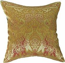 Artiwa Bezug traditionelle indische Elefanten, bestickte Seide, Überwurf Dekoratives Kissen, 40.64 cm x 40.64 cm Geschenkidee, gelb, 40 x 40 cm.