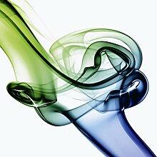 Artland Glas-Tisch mit Chrom-Fuß rund und eckig mit Motiv Crashoran Aufeinanderprallen von blau und grün -Abstrakt Abstrakte Motive Muster Digitale Kunst Weiß