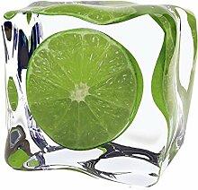 Artland Glas-Tisch mit Chrom-Fuß rund und eckig mit Motiv Oleksandr Moroz Limette im Eiswürfel Ernährung & Genuss Lebensmittel Obst Fotografie Grün