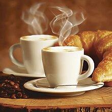 Artland Glas-Tisch mit Chrom-Fuß rund und eckig mit Motiv Tesgro Tessieri Dampfender Cappuccino und Croissant Ernährung & Genuss Getränke Kaffee Fotografie Braun