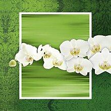 Artland Glas-Tisch mit Chrom-Fuß rund und eckig mit Motiv W. L. Orchideen - grün Botanik Blumen Orchidee Digitale Kunst Grün