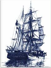 Artland Glasbild Antikes Schiff in blau I 45x60
