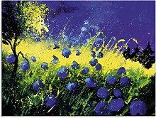 Artland Glasbild Blaue Blumen 80x60 cm, blau