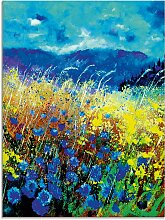 Artland Glasbild Blaue wilde Blumen 60x80 cm, blau