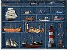 Artland Glasbild Der maritime Setzkasten,