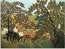 Artland Glasbild Exotische Landschaft mit Affen