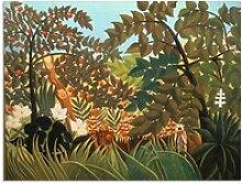 Artland Glasbild Exotische Landschaft mit Affen,