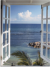 Artland Glasbild Fenster zum Paradies 45x60 cm
