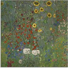 Artland Glasbild Garten mit Sonnenblumen,