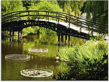 Artland Glasbild Gartenbrücke 60x45 cm grün