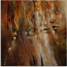 Artland Glasbild Gesichter 50x50 cm, braun