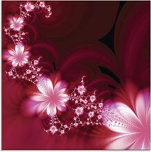 Artland Glasbild Girlande aus Blumen 20x20 cm rot