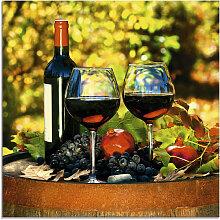 Artland Glasbild Gläser Rotwein auf altem Fass